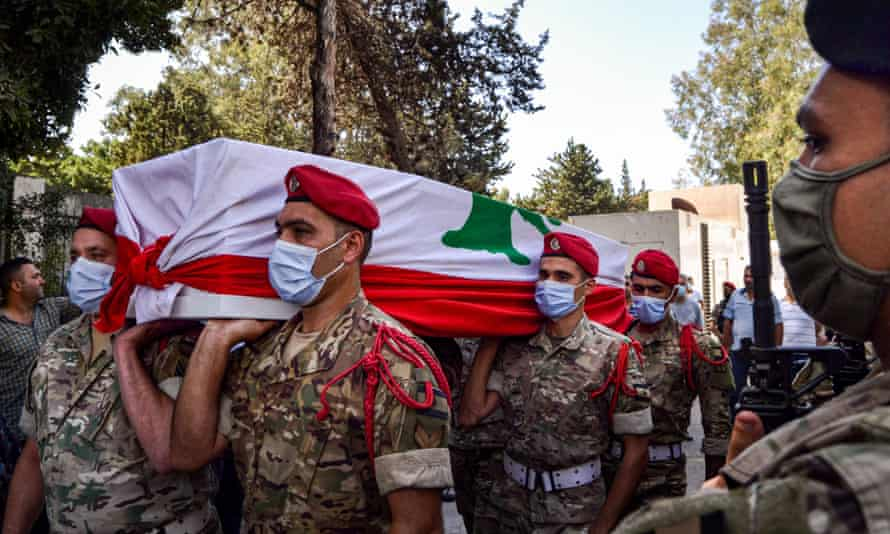 The funeral of a Lebanese soldier killed by 'terrorists' in Lebanon's northern city of Tripoli on 27 September.