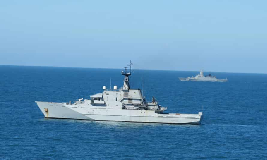 HMS Tyne shadows the Russian corvette Steregushchiy in the Channel.