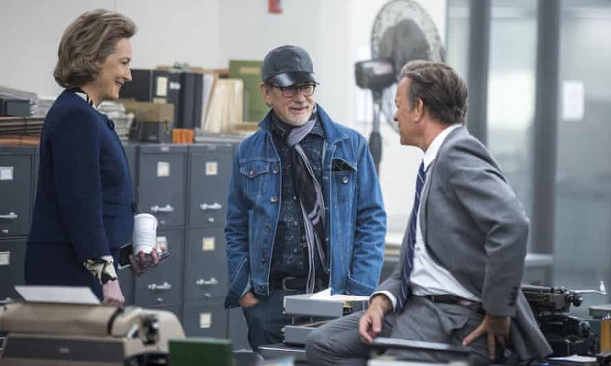 Spielberg (centre) with Meryl Streep and Tom Hanks on the set of The Post