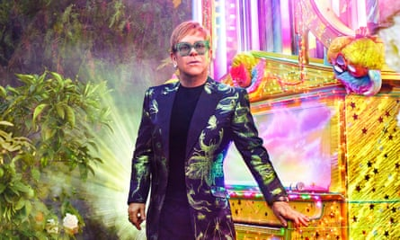 Elton John photographed by David LaChapelle for his Farewell Yellow Brick Road tour.