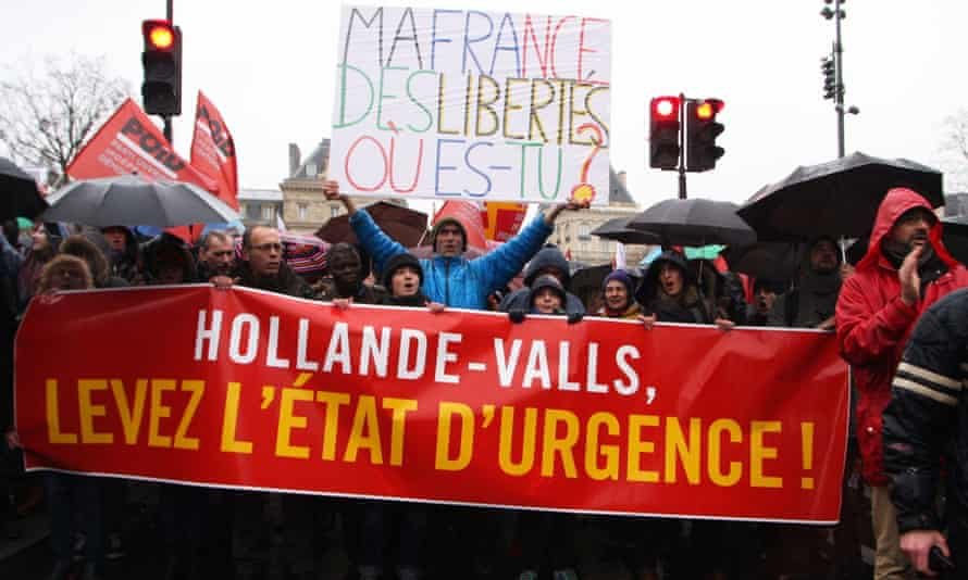 Demonstrators urge the president, François Hollande, and the prime minister, Manuel Valls, to lift the state of emergency.