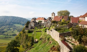 Picturesque hilltop village in wine growing area in rural landscape. Chateau Chalon, Jura, Franche-Comte, France.