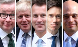 Tory conservative leadership contenders Michael Gove, Boris Johnson, Jeremy Hunt, Rory Stewart and Sajid Javid.