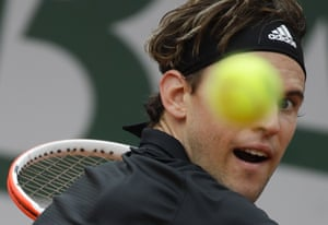Dominic Thiem eyes a return during his victory over Jack Sock.