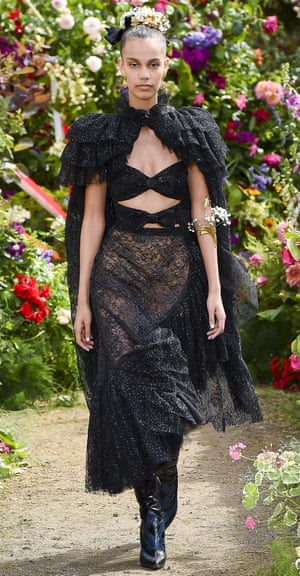 Black lace and flower crowns on the Rodarte catwalk.