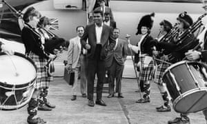 Arriving at Glasgow airport for a series of exhibition matches, August 1965.