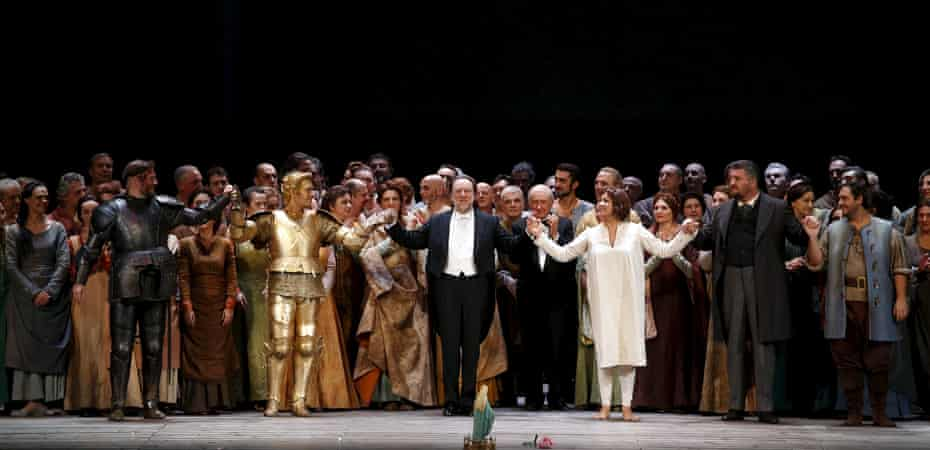 Riccardo Chailly, centre, and cast take a bow at the end of Giovanna d'Arco.