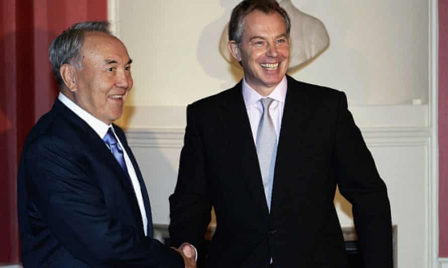 The president of Kazakhstan, Nursultan Nazarbayev, with Blair in Downing Street.