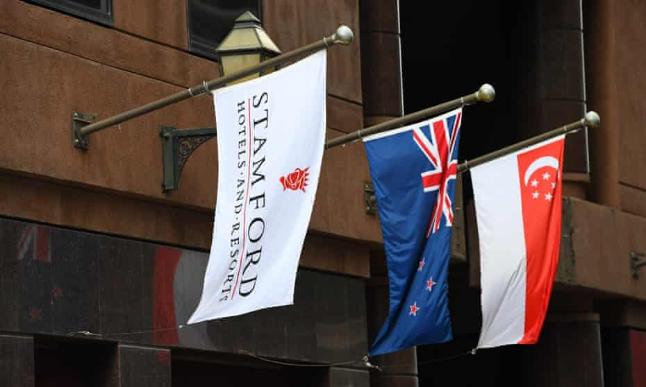 flags outside the Stamford hotel