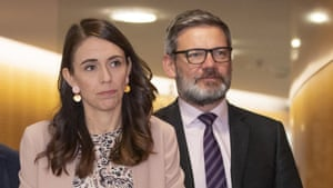 Jacinda Ardern with her former workplace relations and safety minister Iain Lees-Galloway