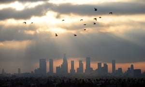 The smoggy, downtown Los Angeles skyline on 14 December 2011.