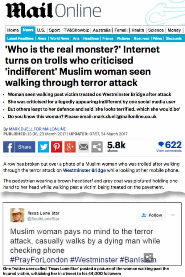 Screenshot of the Mail Online story published on 24 March 2017.
