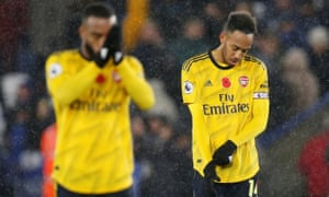 Arsenal's Pierre-Emerick Aubameyang looks dejected after the final whistle.