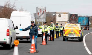 Gardaí stop and check vehicles at the border on 9 April.