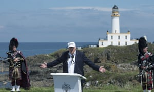 Donald Trump delivers a speech as he officially opens his Trump Turnberry hotel and golf resort in Turnberry, Scotland, in 2016.