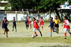 Kolsindur school's team captain, Maria Manda, takes on the opposition during a match