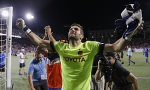 Mitch Hildebrandt celebrates FC Cincinnati's victory over Miami FC in the US Open Cup