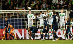 Real Madrid's Gareth Bale's free kick goes over the wall and over the bar.