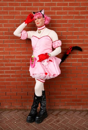 Air conditioning engineer Wayne Stockton from Birmingham dressed as Ichigo Momomiya, a character from the manga and anime series Tokyo Mew Mew. In his spare time Wayne loves welding, fabricating and making novelty motorised go carts
