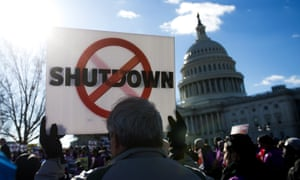 A protest against the partial government shutdown at the US Capitol in Washington.