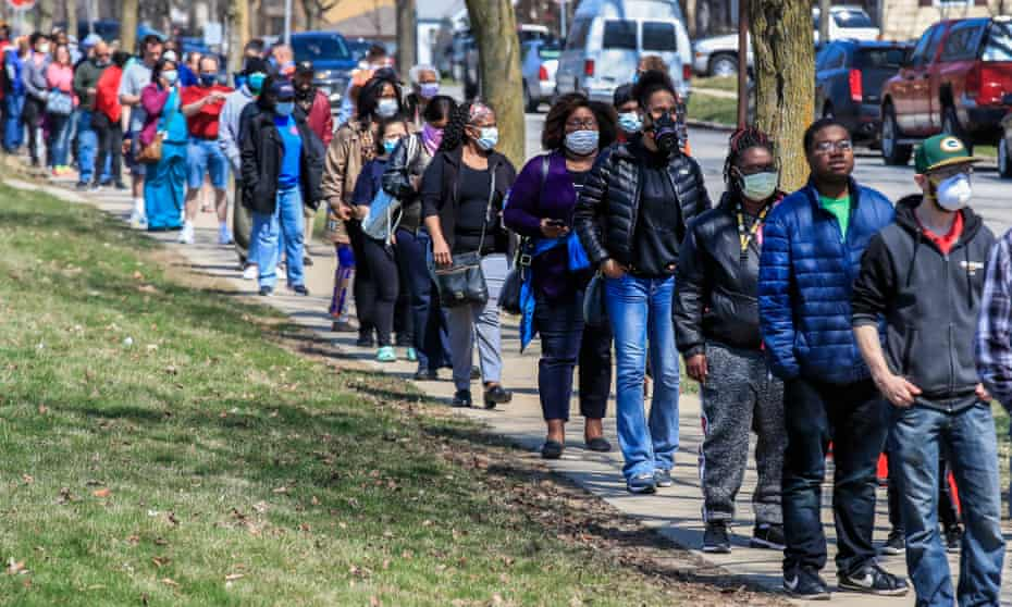 Despite the coronavirus outbreak, residents in Wisconsin were forced to queue to vote in the Democratic primary election on 7 April