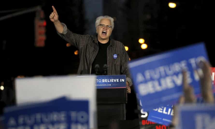 Tim Robbins speaks at the Bernie Sanders rally in Washington Square Park.