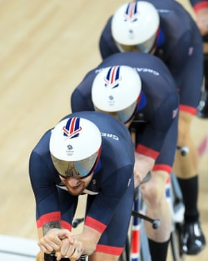 Ed Clancy, Steven Burke, Owain Doull and Sir Bradley Wiggins of Great Britain ride in the men's team pursuit.