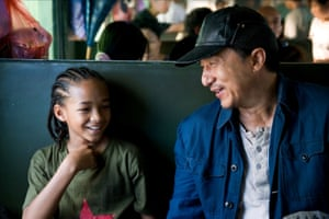 Jaden Smith and Jackie Chan in The Karate Kid.