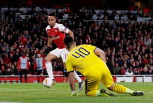 Aubameyang scores his second and Arsenal's third.