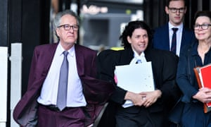 Australian actor Geoffrey Rush and his legal team arrive at the federal court in Sydney on Wednesday