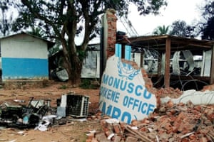 A UN base in Beni is seen in the aftermath of a November assault by demonstrators angered by attacks on civilians in the region