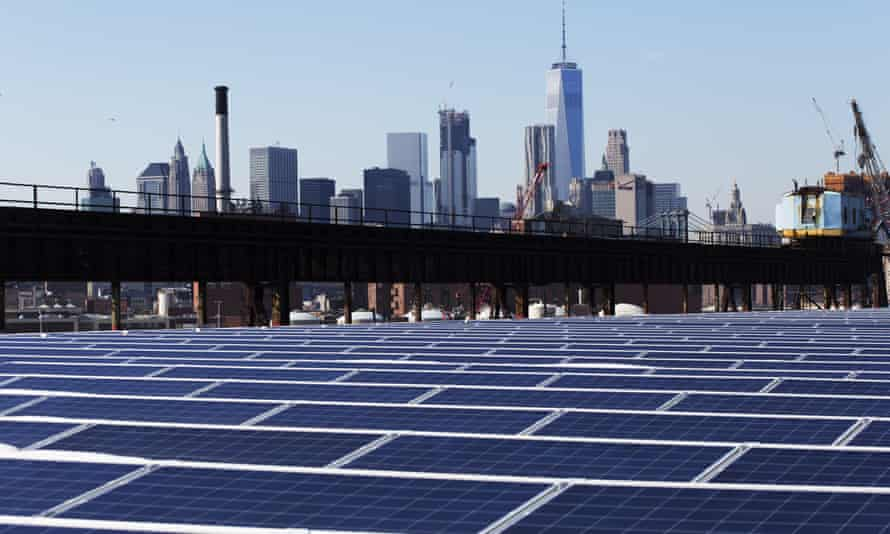 A rooftop covered with solar panels at the Brooklyn Navy Yard in New York