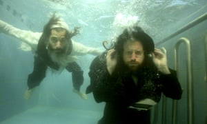 Ori Gruder, left, and Rabbi Yisrael Aharon Itzkovitzin a mikvah ritual bath. Gruder, an ultra-Orthodox film-maker born into a secular family, made the documentary Sacred Sperm about the Hardei community's awkward approach to masturbation.