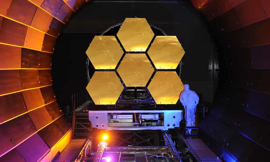 The mirrors of the James Webb space telescope, due to launch in October, undergo cryogenic testing.