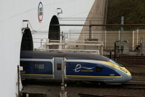 The Eurostar high speed train enters the Channel Tunnel in Coquelles, near Calais France.