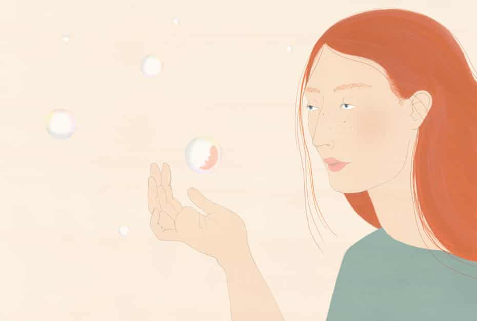 illustration: woman looking at bubble with foetus inside