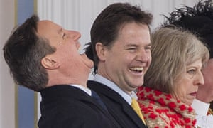 David Cameron, Nick Clegg and Theresa May in 2015, during a state visit of the Mexico president.