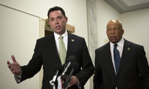 Committee on Oversight and Government Reform Chairman Rep. Jason Chaffetz, R-Utah, left, and ranking member Rep. Elijah Cummins, D-Md., speak with reporters following a Capitol Hill briefing on security at the U.S. Capitol, in Washington, Wednesday, April 22, 2015. Chaffetz says the Florida postal carrier steered his small gyrocopter through protected Washington airspace for 30 miles to the U.S. Capitol without being stopped.(AP Photo/Cliff Owen)