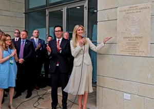 Steve Mnuchin (C-L) claps Ivanka Trump unveils the inauguration plaque at the new US embassy building in Jerusalem