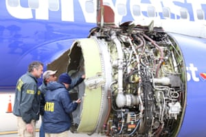 Investigators look at damaged jet engine in Philadelphia