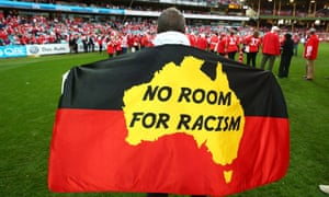 A flag in support of Adam Goodes