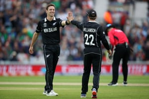 Henry and Williamson high five after dismissing Mortaza for one.