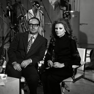 Ennio Morricone with the Italian singer and actor Maria Ilva Biolcati, known as Milva, at a television studio in Milan in 1972