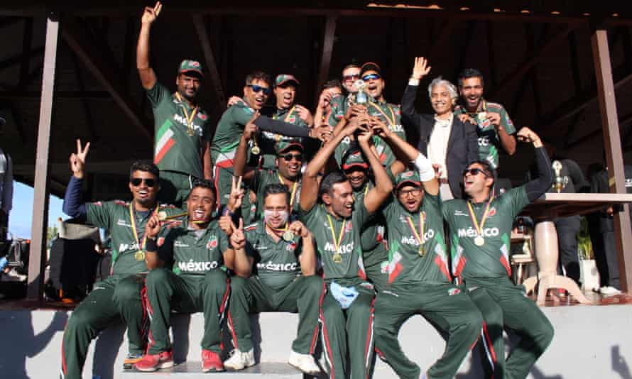 Mexico's national side celebrate winning the 2018 South American Cricket Championship in Bogotá.