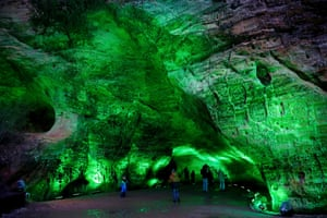 People visit Gutman's Cave in Sigulda, Latvia