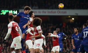Marcos Alonso of Chelsea sends a header against the post.