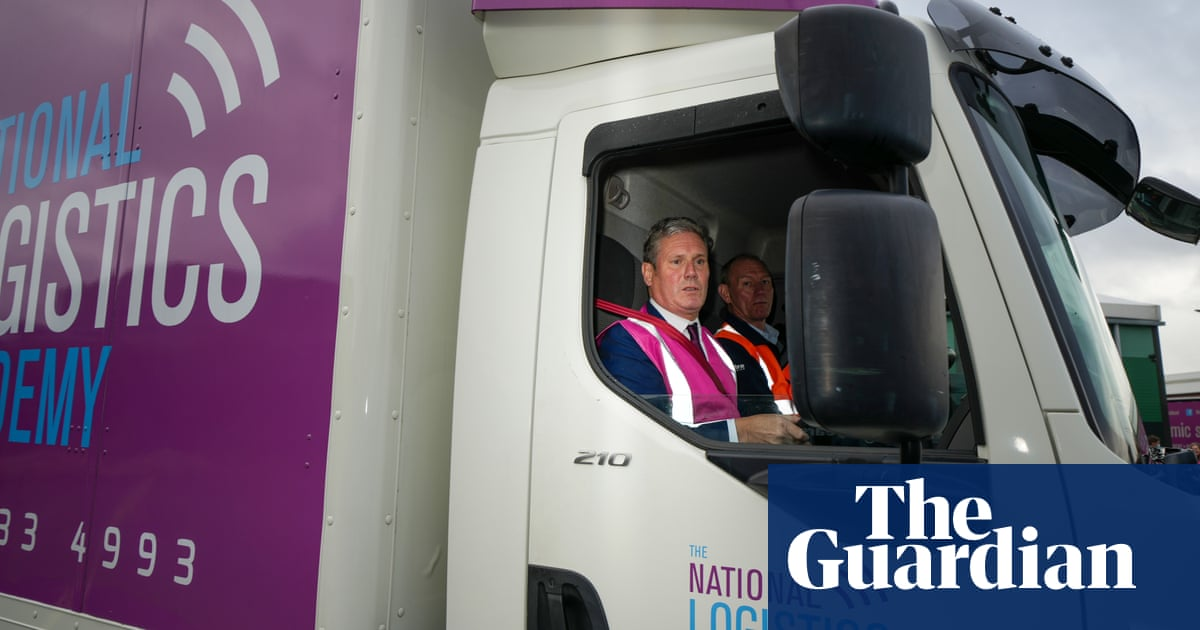 'You would have failed': Keir Starmer hits fence in mock lorry driving test – video