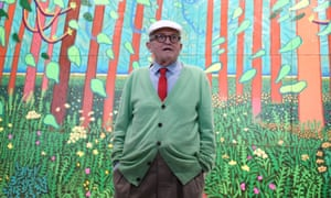david hockney in front of one of his pictures at the pompidou centre in september 2017