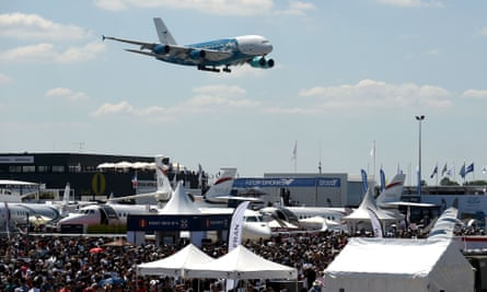 An Airbus A380  at the International Paris Air Show