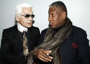 Karl Lagerfeld and Vogue's Andre Leon Talley during Chanel Event - New York Collection - December 7, 2005 at 57th Street Boutique in New York City, New York, United States